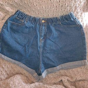Shein elastic waist denim shorts